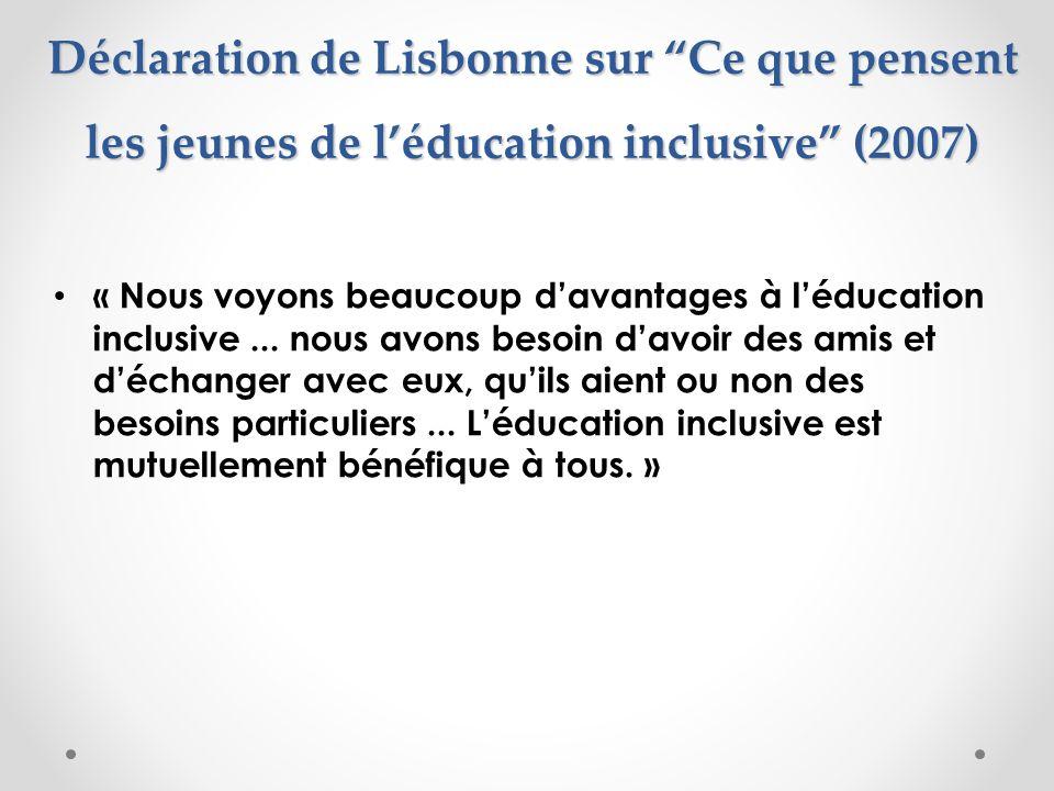 Déclaration de Lisbonne sur Ce que pensent les jeunes de l'éducation inclusive (2007)