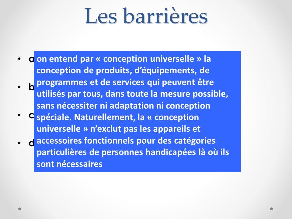 Les barrières a) Physiques b) Juridiques c) Economiques et, surtout,