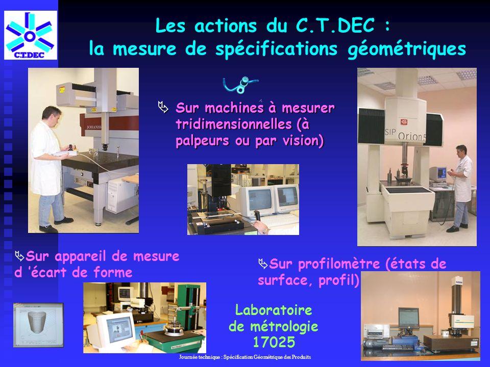 Les actions du C.T.DEC : la mesure de spécifications géométriques