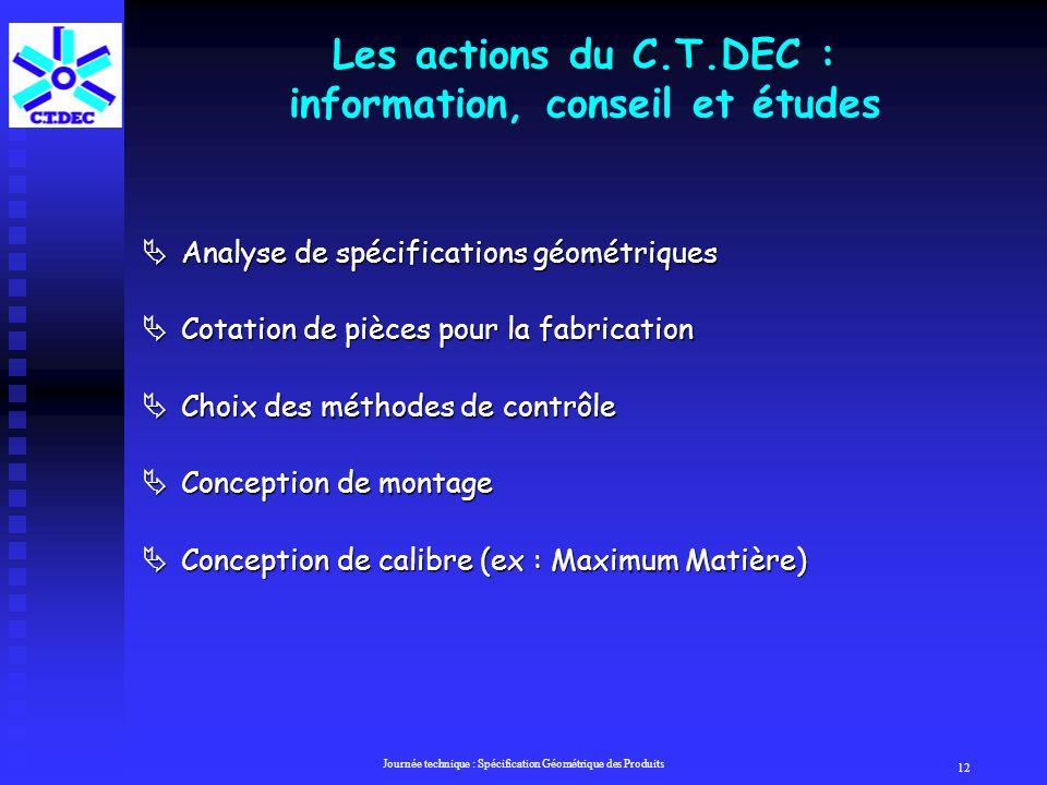 Les actions du C.T.DEC : information, conseil et études