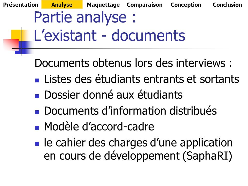 Partie analyse : L'existant - documents