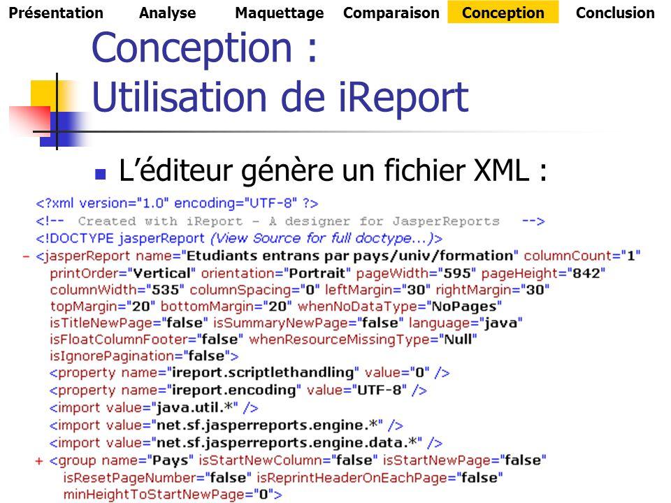 Conception : Utilisation de iReport