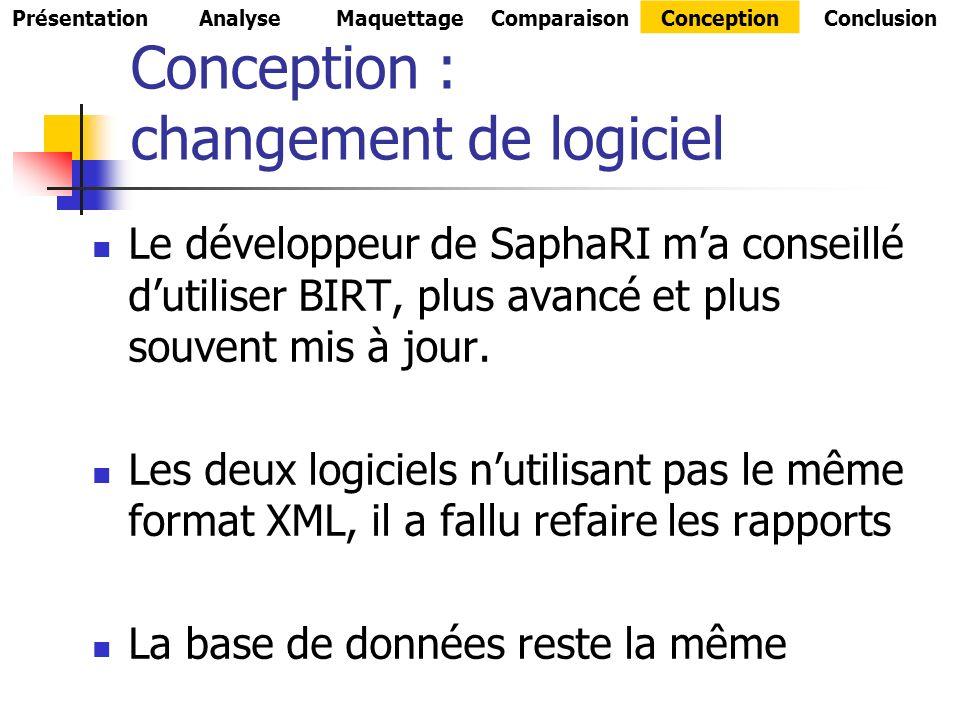 Conception : changement de logiciel