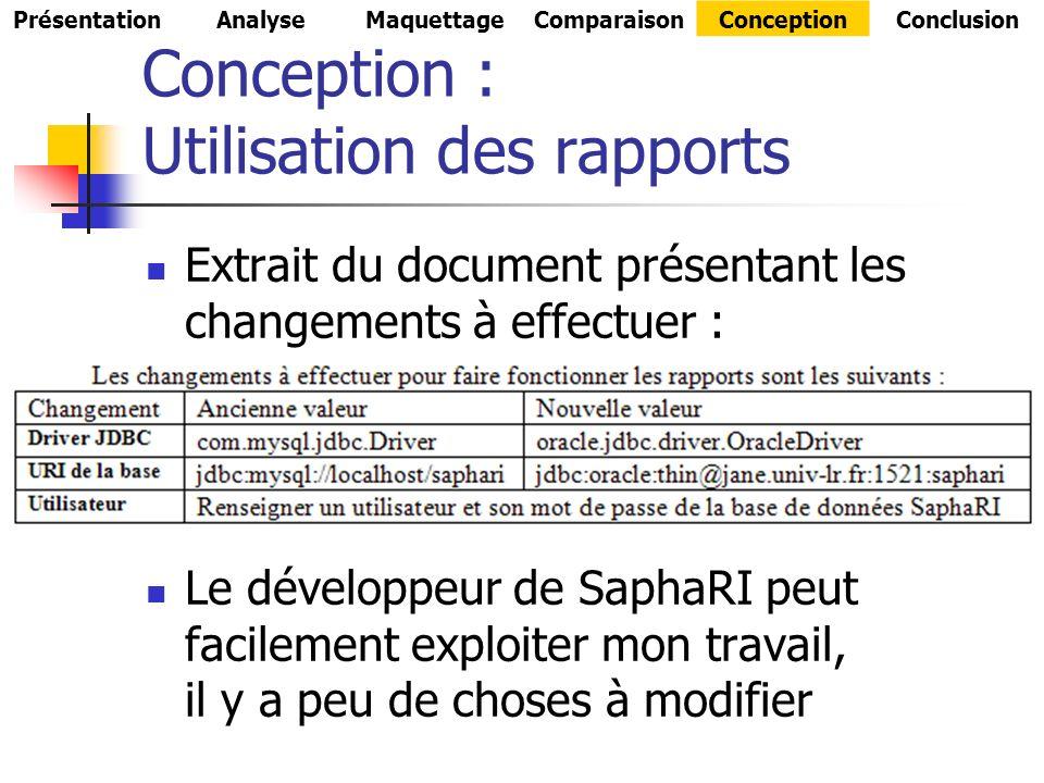 Conception : Utilisation des rapports