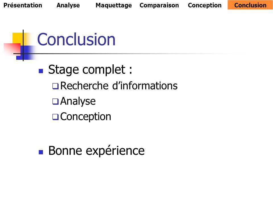 Conclusion Stage complet : Bonne expérience Recherche d'informations