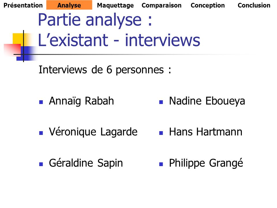 Partie analyse : L'existant - interviews