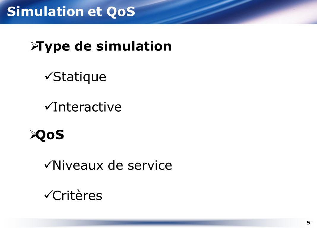 Simulation et QoS Type de simulation Statique Interactive QoS