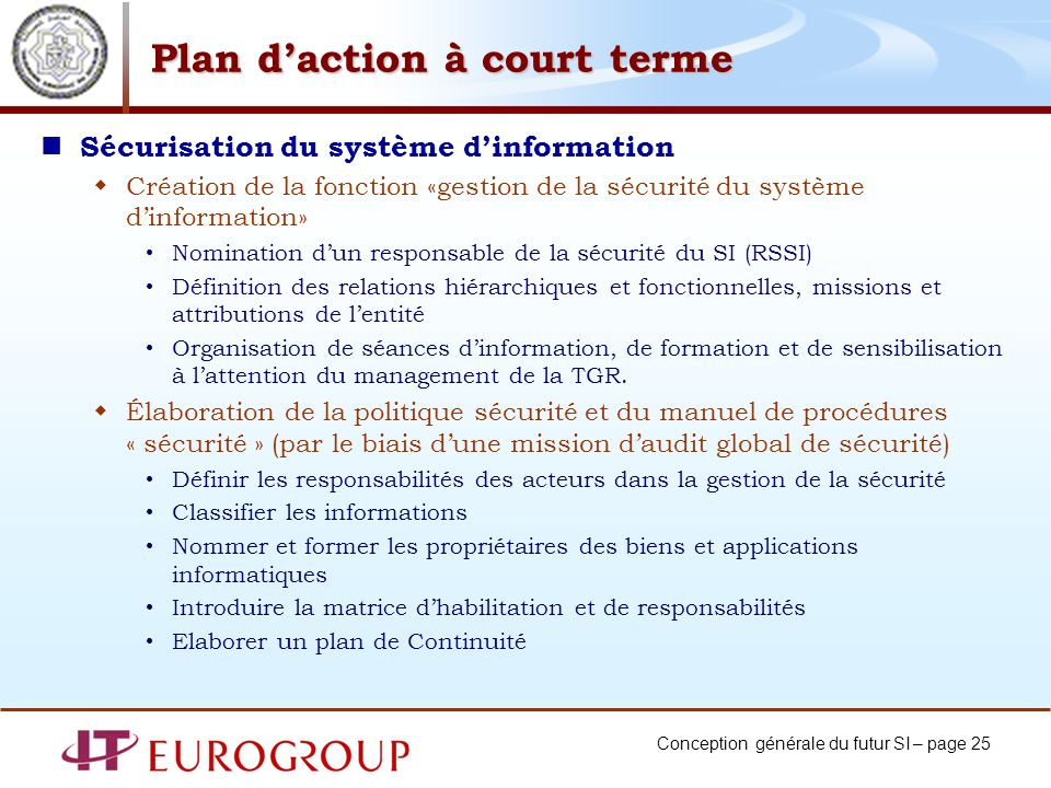 Plan d'action à court terme