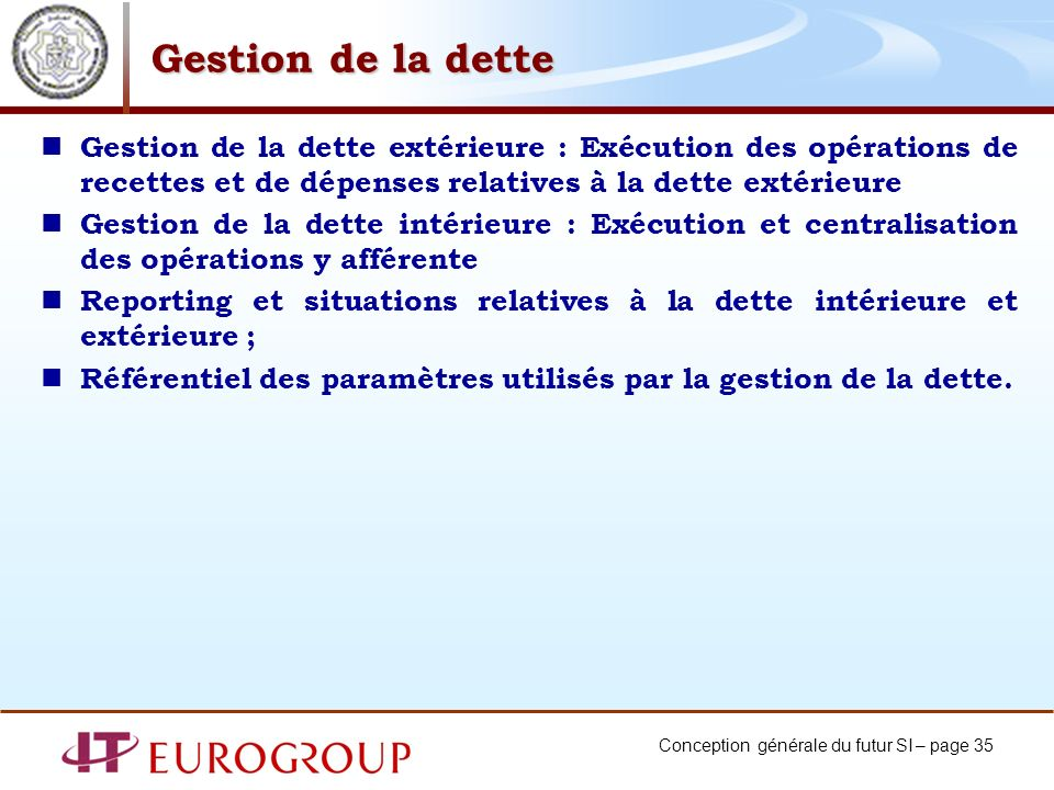 Gestion de la dette Gestion de la dette extérieure : Exécution des opérations de recettes et de dépenses relatives à la dette extérieure.