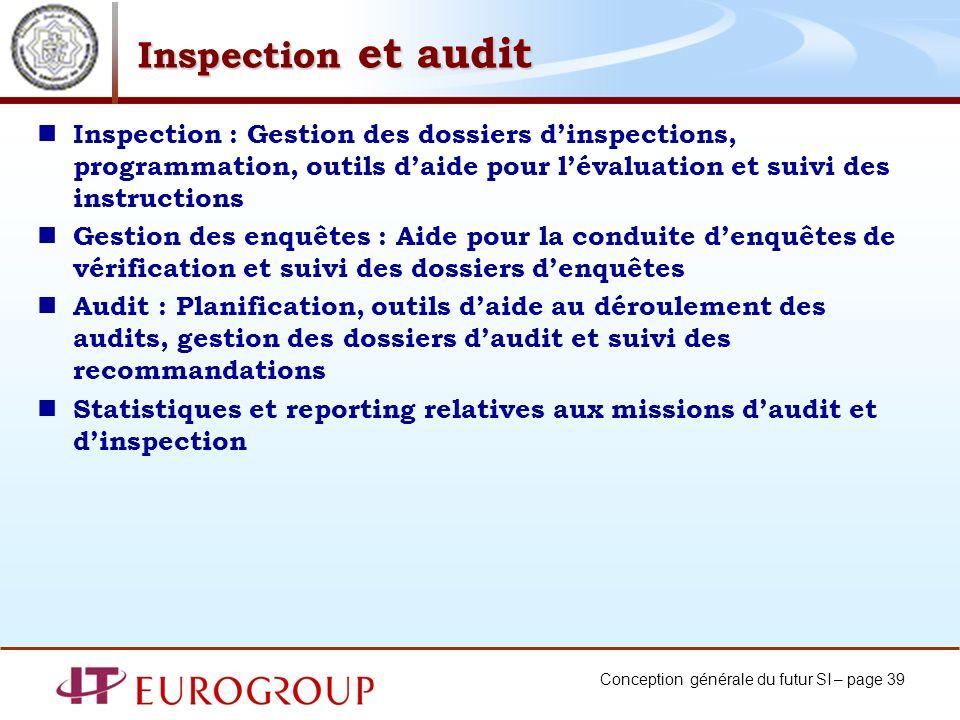 Inspection et audit Inspection : Gestion des dossiers d'inspections, programmation, outils d'aide pour l'évaluation et suivi des instructions.