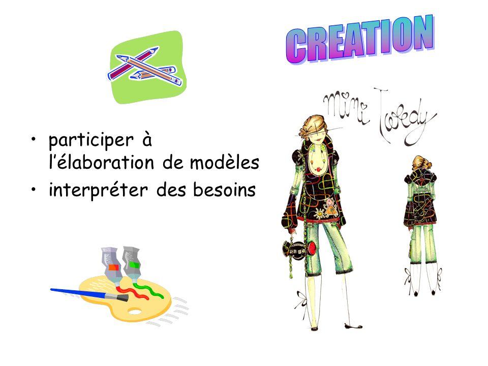 CREATION participer à l'élaboration de modèles interpréter des besoins