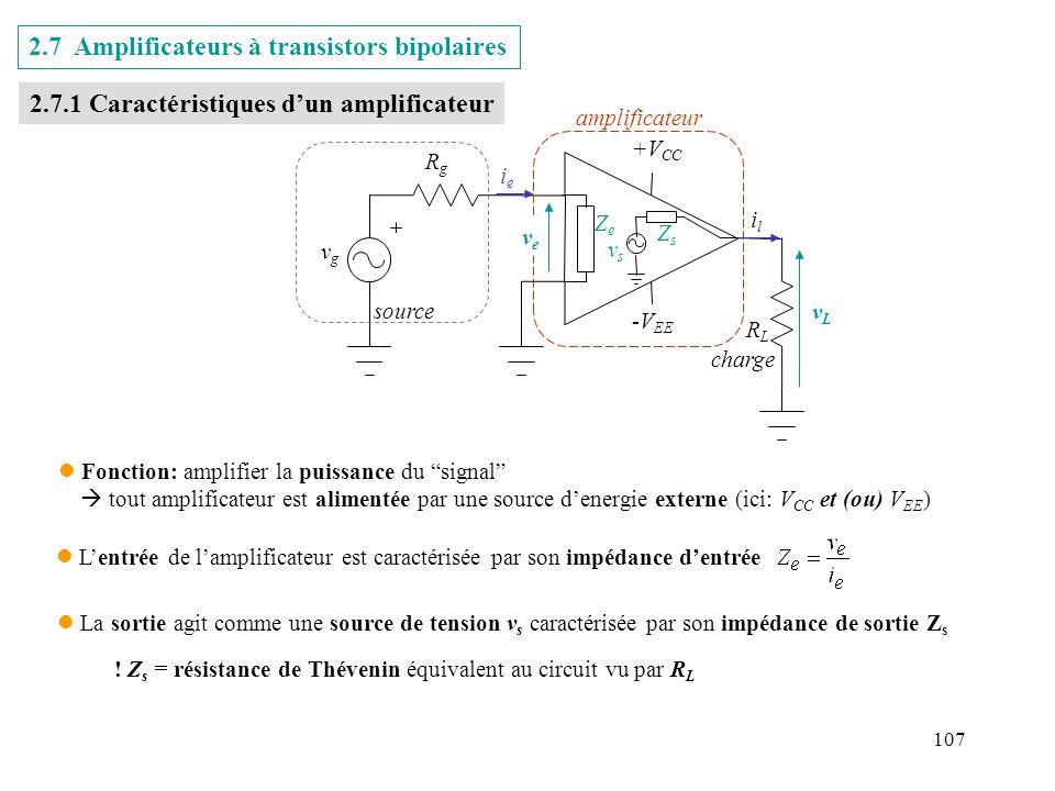 2.7 Amplificateurs à transistors bipolaires