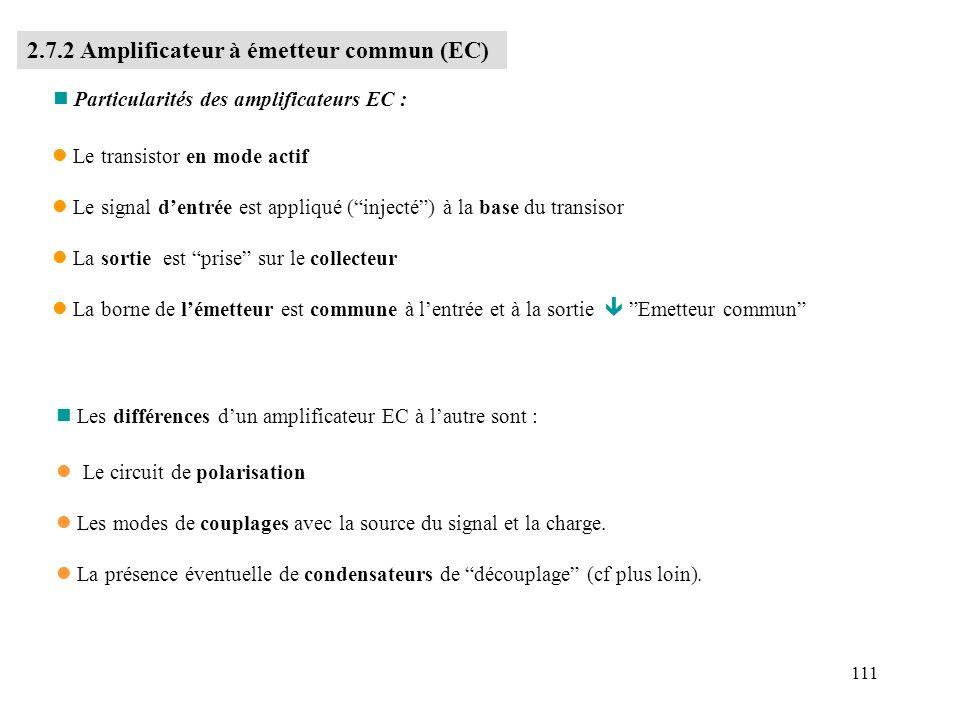 2.7.2 Amplificateur à émetteur commun (EC)