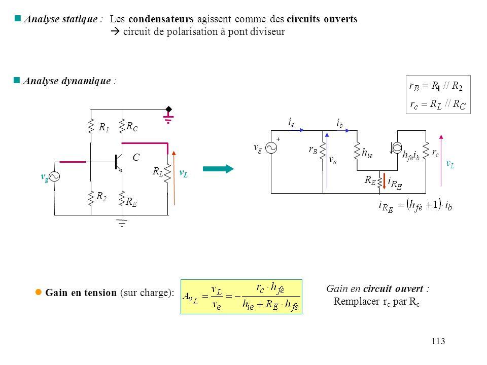 Les condensateurs agissent comme des circuits ouverts