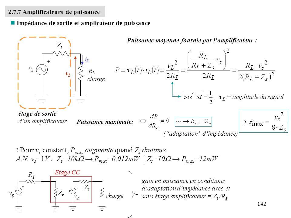 A.N. vs=1V : Zs=10kW  Pmax=0.012mW | Zs=10W  Pmax=12mW