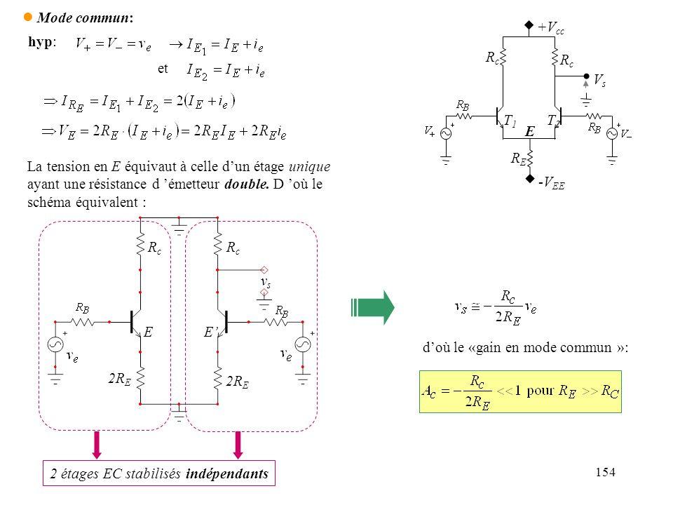 2 étages EC stabilisés indépendants d'où le «gain en mode commun »: