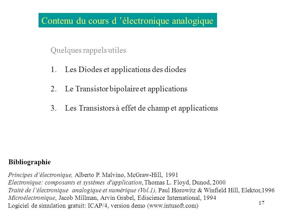 Contenu du cours d 'électronique analogique