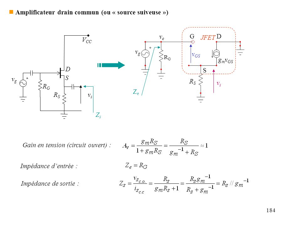 Amplificateur drain commun (ou « source suiveuse »)