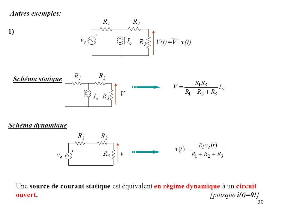 Autres exemples: Io R1 R2 R3 V(t)=V+v(t) 1) ve Schéma statique Io R1