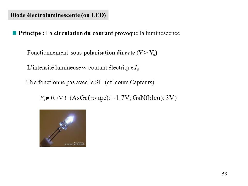 Diode électroluminescente (ou LED)