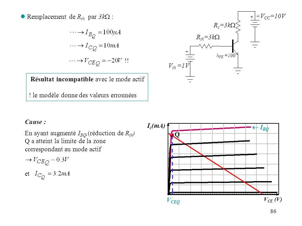 Remplacement de Rth par 3kW : +VCC=10V