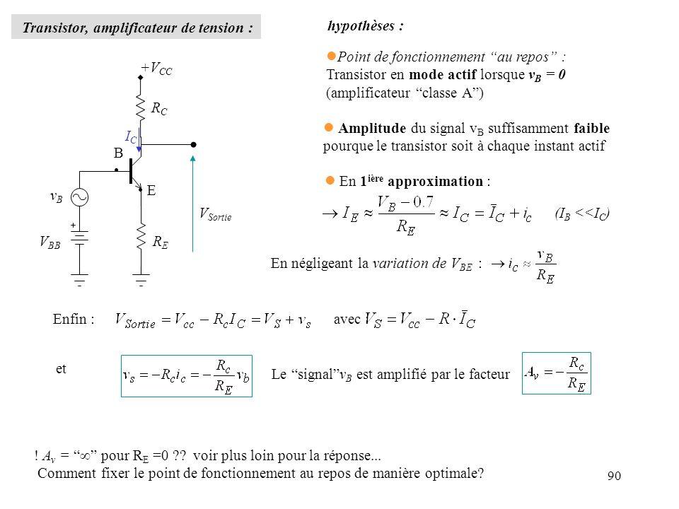 Transistor, amplificateur de tension : hypothèses :