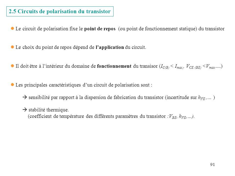2.5 Circuits de polarisation du transistor