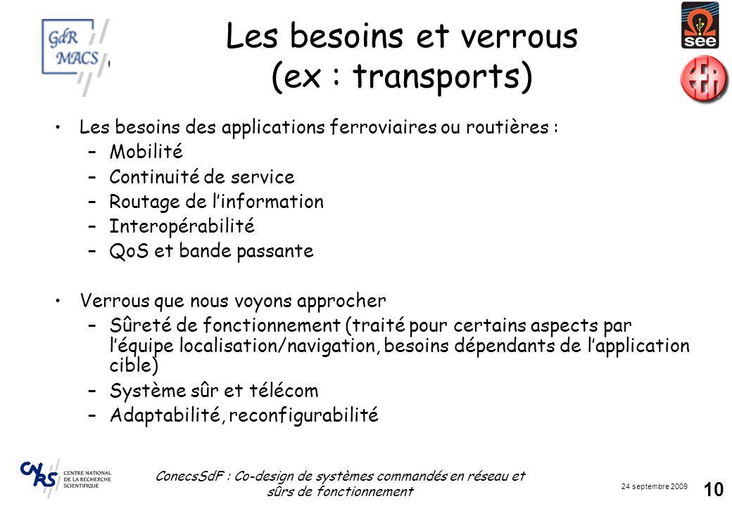 Les besoins et verrous (ex : transports)