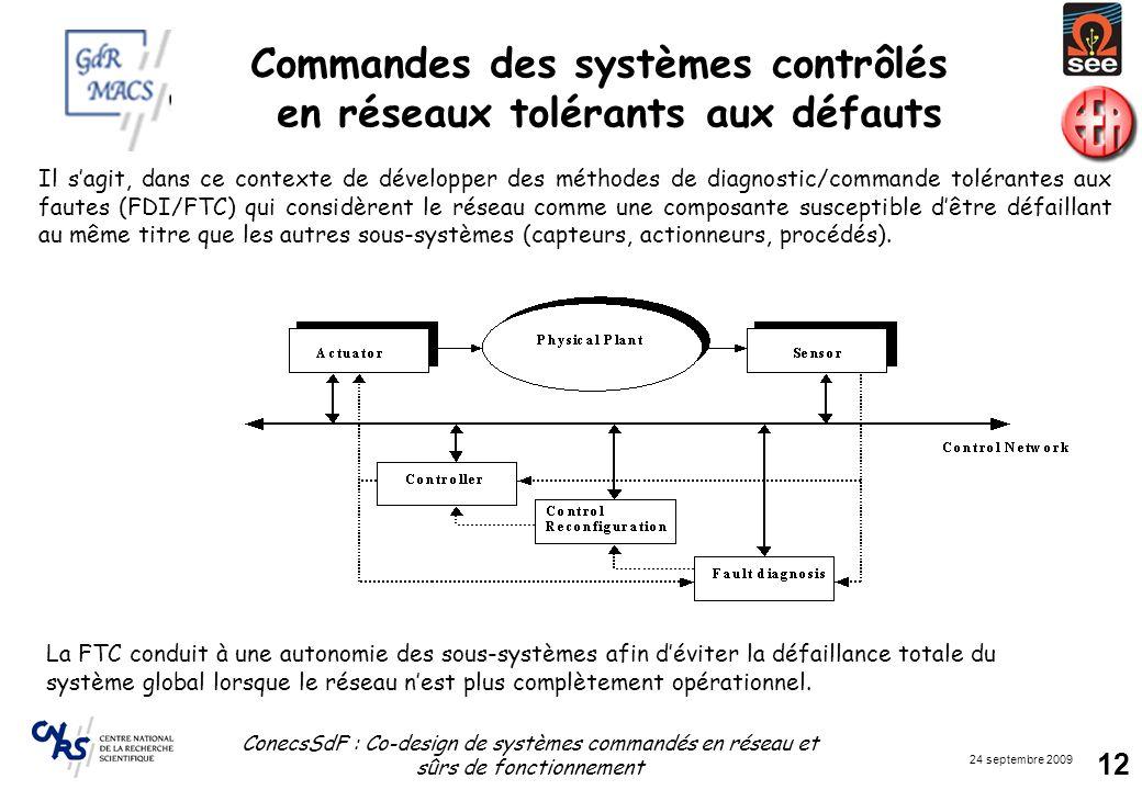 Commandes des systèmes contrôlés en réseaux tolérants aux défauts
