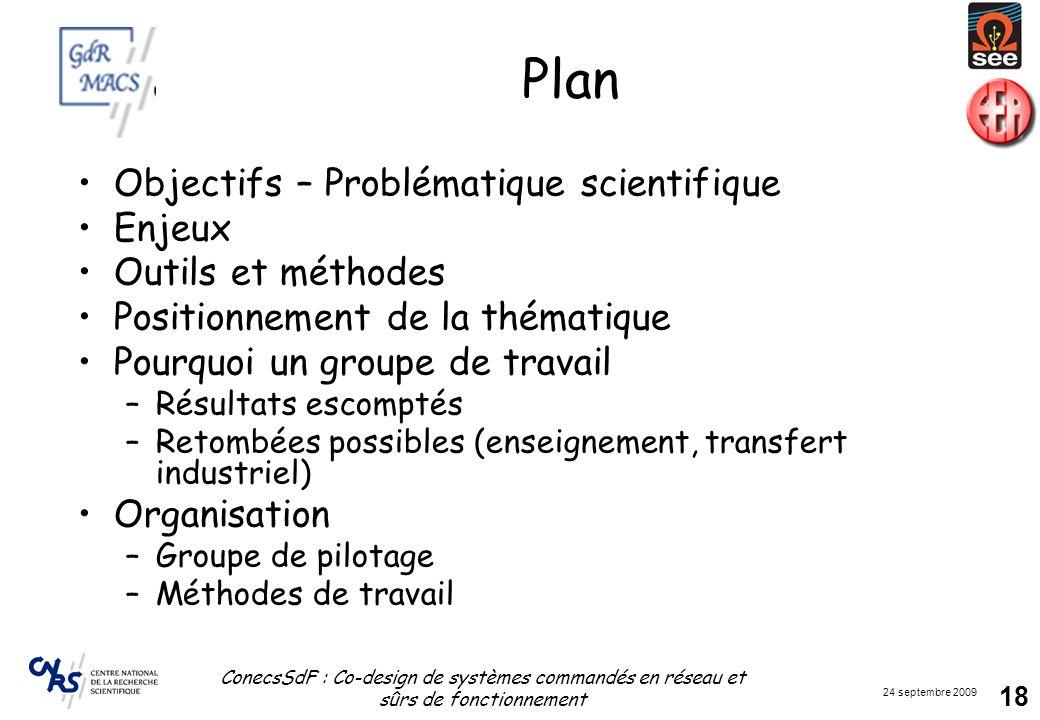 Plan Objectifs – Problématique scientifique Enjeux Outils et méthodes