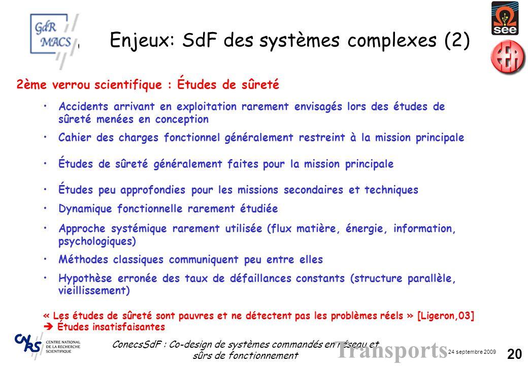 Enjeux: SdF des systèmes complexes (2)