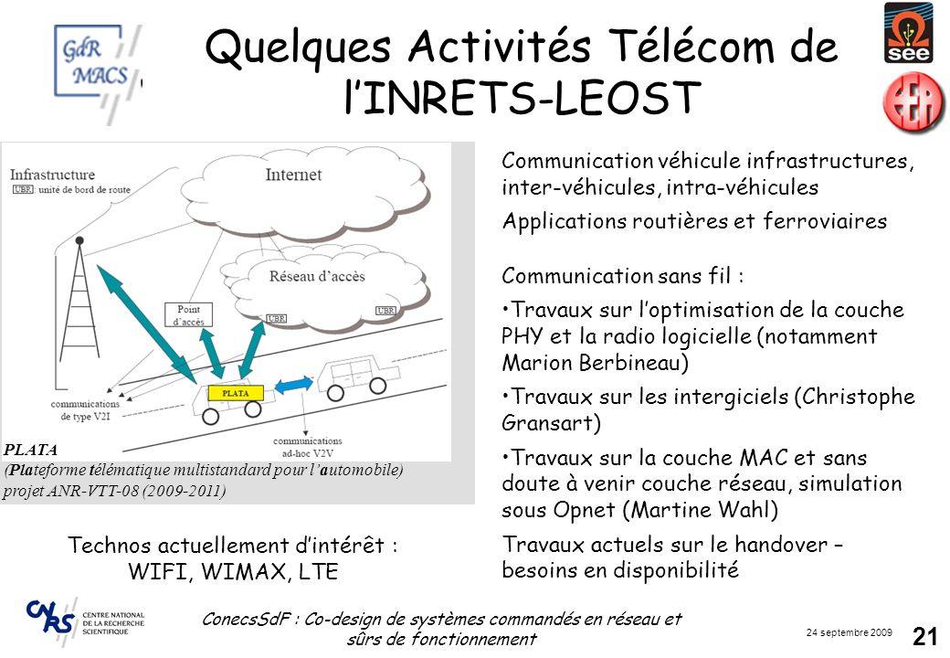 Quelques Activités Télécom de l'INRETS-LEOST