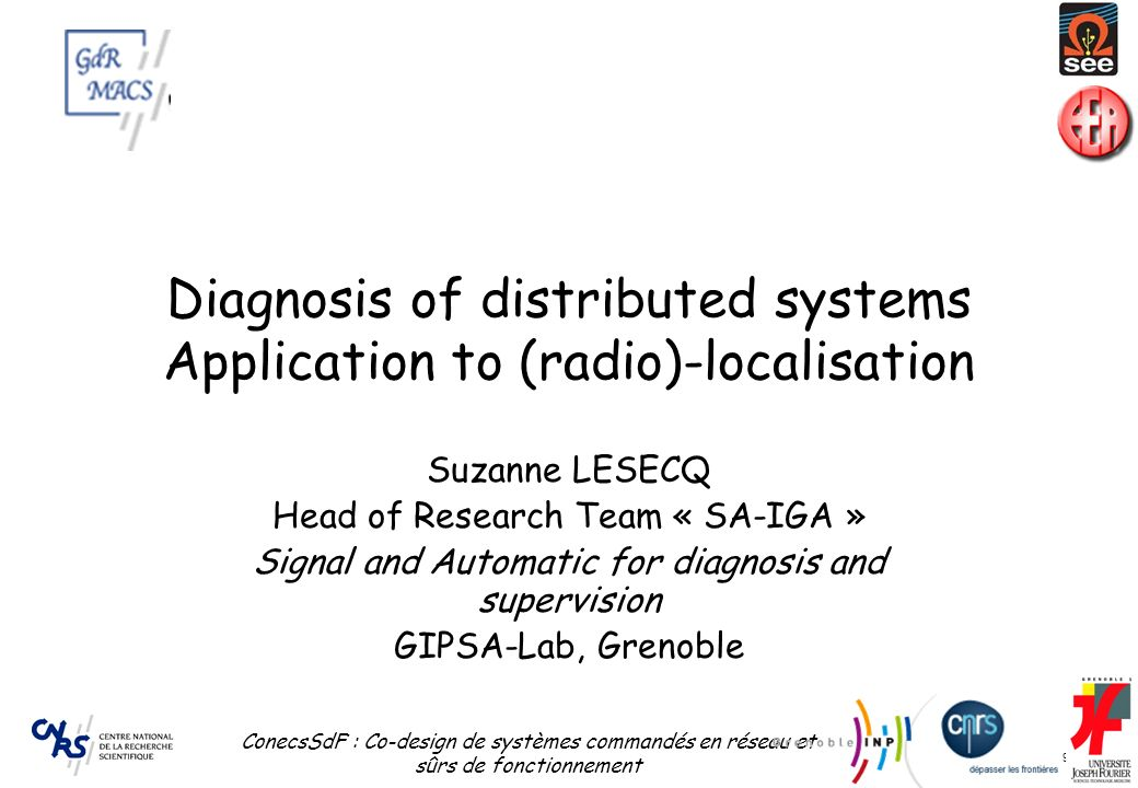 Diagnosis of distributed systems Application to (radio)-localisation