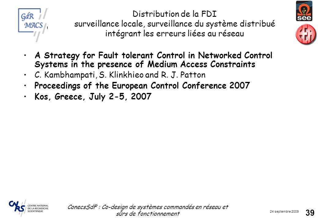 Distribution de la FDI surveillance locale, surveillance du système distribué intégrant les erreurs liées au réseau