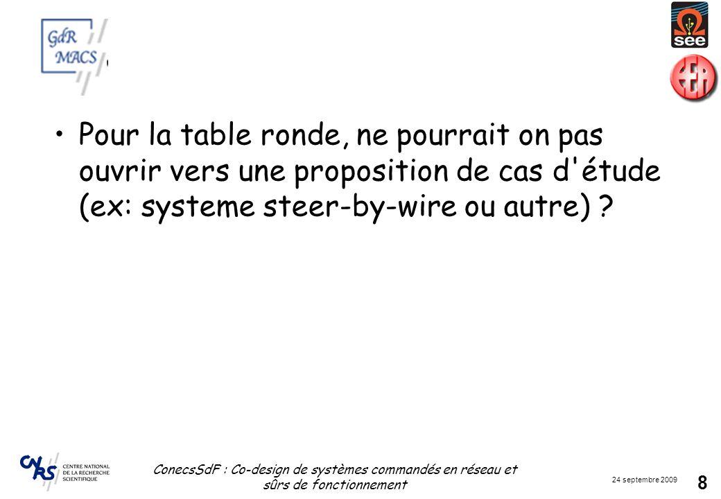 Pour la table ronde, ne pourrait on pas ouvrir vers une proposition de cas d étude (ex: systeme steer-by-wire ou autre)