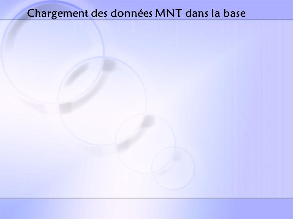 Chargement des données MNT dans la base