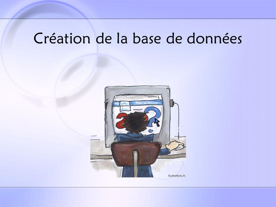 Création de la base de données