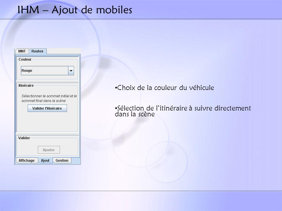 IHM – Ajout de mobiles Choix de la couleur du véhicule