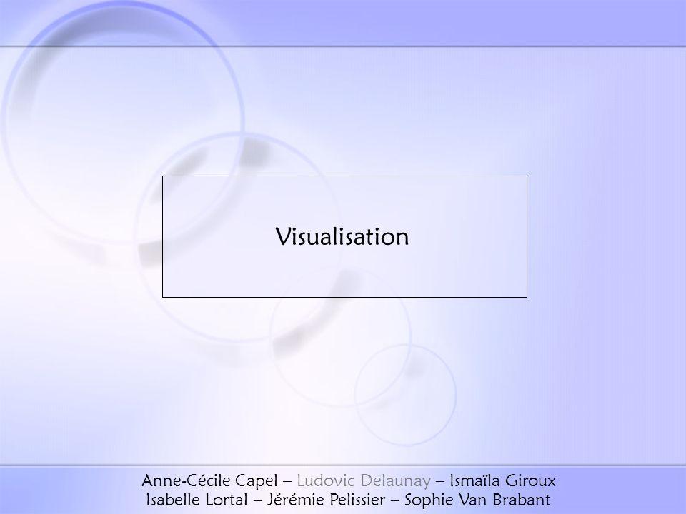 Visualisation Anne-Cécile Capel – Ludovic Delaunay – Ismaïla Giroux Isabelle Lortal – Jérémie Pelissier – Sophie Van Brabant.