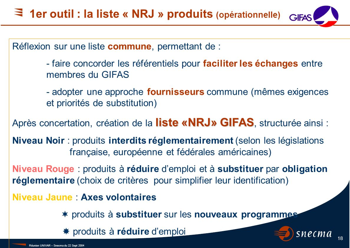 La liste NRJ Couleur - Intitulé - Critères.
