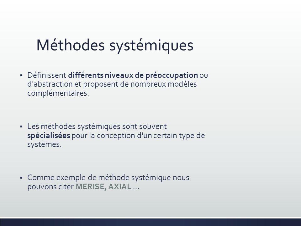 Méthodes systémiques Définissent différents niveaux de préoccupation ou d abstraction et proposent de nombreux modèles complémentaires.