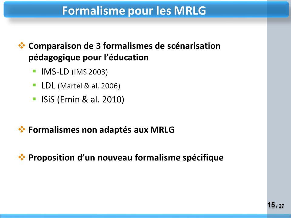 Formalisme pour les MRLG