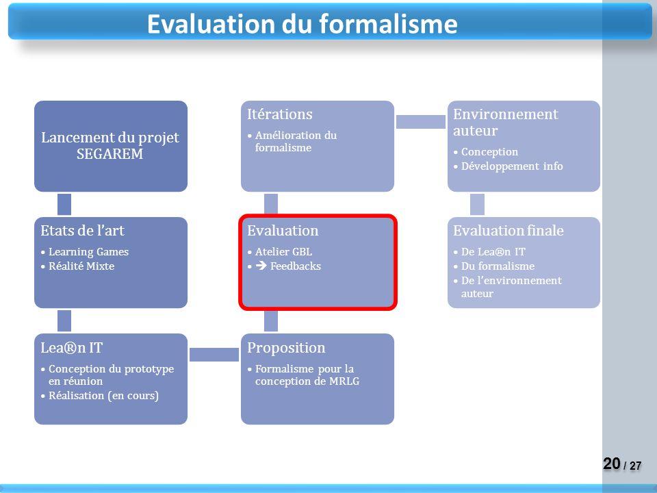 Evaluation du formalisme