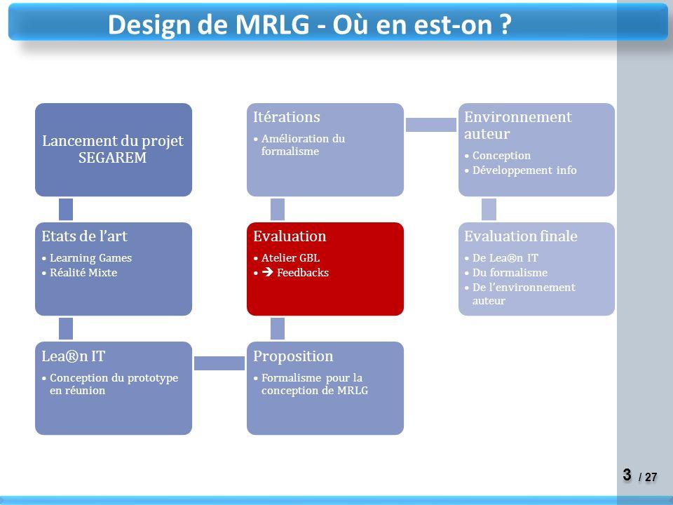 Design de MRLG - Où en est-on