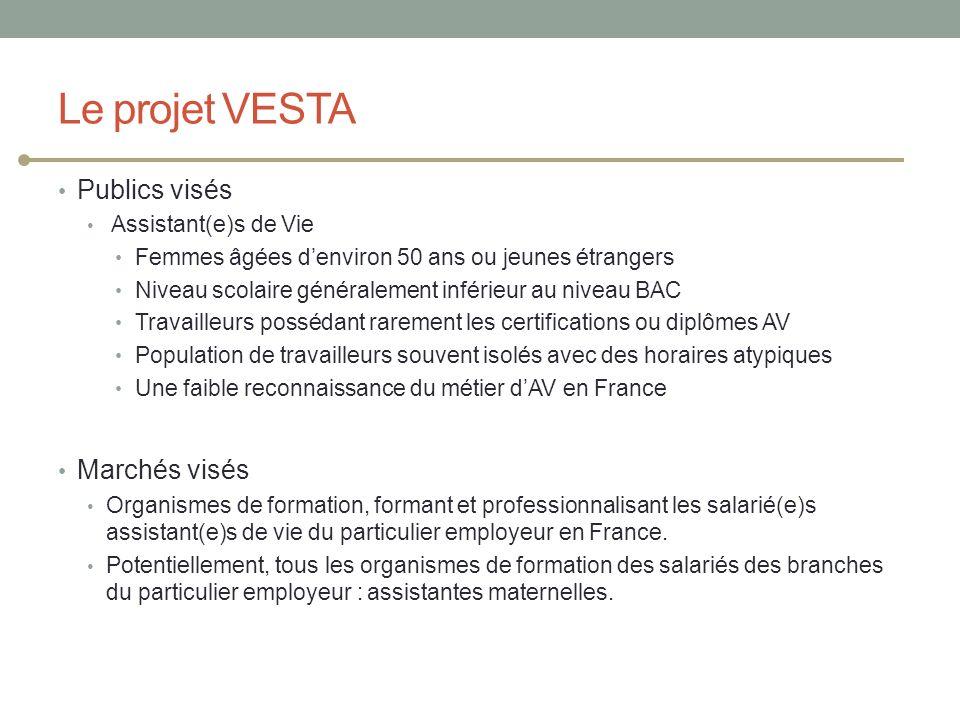 Le projet VESTA Publics visés Marchés visés Assistant(e)s de Vie