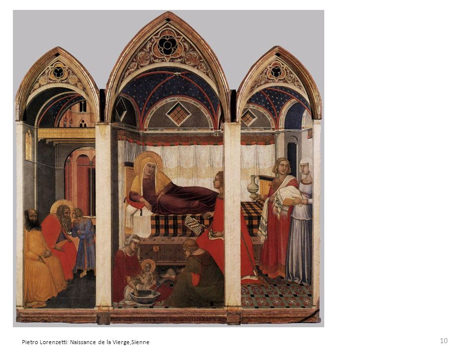 Pietro Lorenzetti: Naissance de la Vierge,Sienne