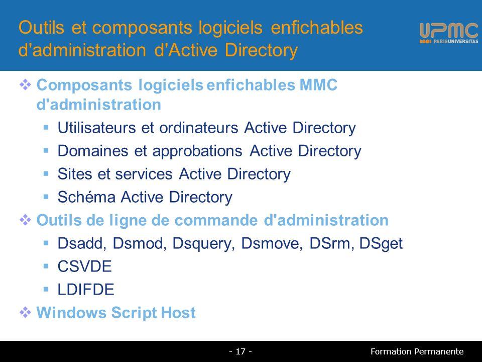 Outils et composants logiciels enfichables d administration d Active Directory