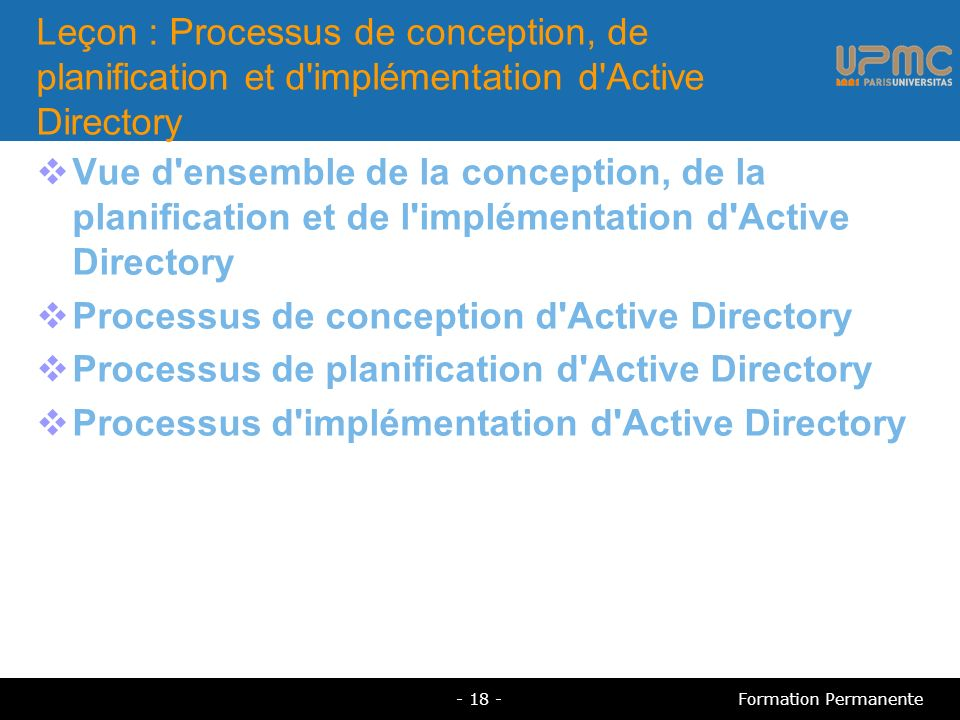 Processus de conception d Active Directory