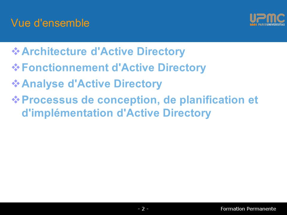 Architecture d Active Directory Fonctionnement d Active Directory