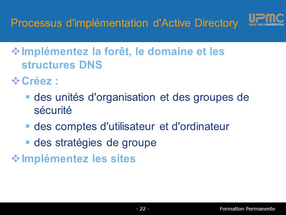 Processus d implémentation d Active Directory